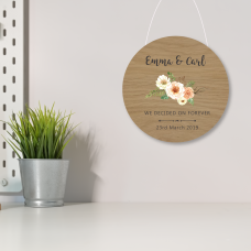 4mm Oak Veneer Printed Circle - Floral Design - We Decided on Forever Personalised and Bespoke