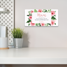 Personalised Printed Rectangle - Mum - I'm as Lucky as can be (Floral Rectangle Label Design) Personalised and Bespoke