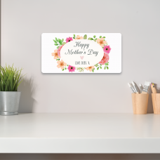 Personalised Printed Rectangle - Happy Mother's Day  (Pink and Peach Floral) Personalised and Bespoke