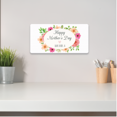 Personalised Printed Rectangle - Happy Mother's Day  (Pink and Peach Floral)