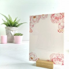 Printed Pink Peony on White Acrylic Plaque