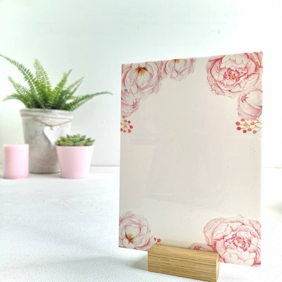 Printed Pink Peony on White Acrylic Plaque Printed Ribba Inserts