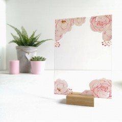 Printed Pink Peony on Clear Acrylic Plaque