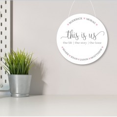 3mm White Acrylic Printed Circle - This Is Us - Family names