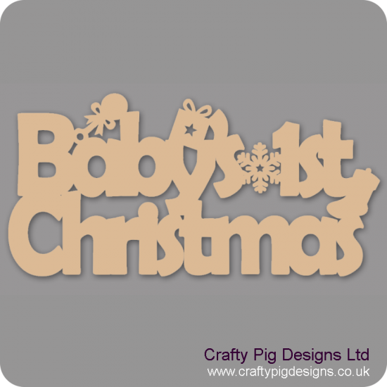 3mm MDF Baby's 1st Christmas with rattle stocking and present