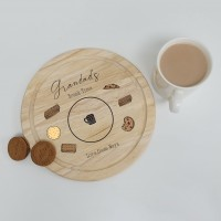 Printed Round Wooden Tea and Biscuits Tray - Biscuits Design