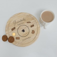 Printed Round Wooden Tea and Biscuits Tray - Biscuits Design Fathers Day