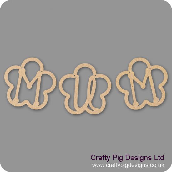 3mm MDF Mum Bunting (Pack of 3) Mother's Day