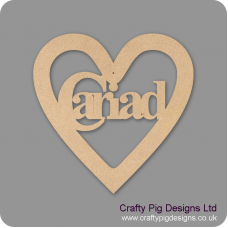 3mm MDF Cariad Heart Hearts With Words