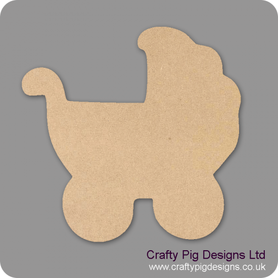 18mm Chunky Pram Shape 18mm MDF Craft Shapes