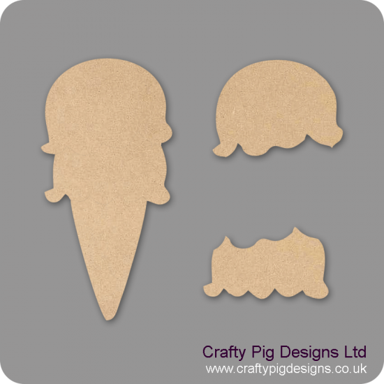3mm MDF Ice Cream Small MDF Embellishments
