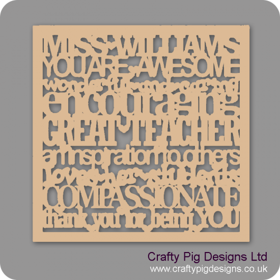 3mm MDF Personalised Teacher Plaque With Border Personalised and Bespoke