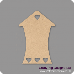 3mm MDF Bendy House With Row Of Small Hearts At Bottom (pack of 5)