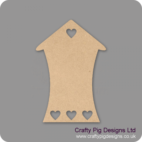 3mm MDF Bendy House With Row Of Small Hearts At Bottom (pack of 5) Little Houses