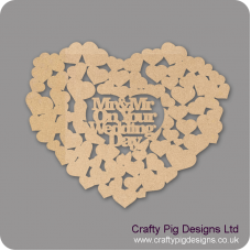 3mm MDF Mr & Mrs On Your Wedding Day Guest Book Hearts With Words