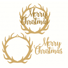 Layered Merry Christmas Antler Plaque Christmas Quotes & Signs