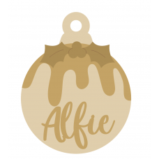 3mm mdf layered Christmas Pudding Bauble with name Personalised and Bespoke