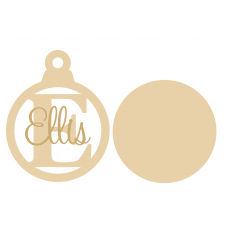 3mm mdf Initial Bauble with stick on name Christmas Baubles