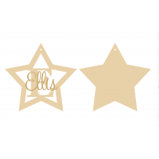 3mm mdf Initial Star Bauble with stick on name Personalised and Bespoke