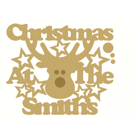 3mm MDF Christmas at the (NAME) sign with Reindeer head