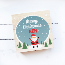 Personalised Square Printed Box Design - Happy Santa Blue Personalised and Bespoke