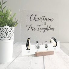 Printed IKEA Ribba or Sannahed Replacement Front Acrylic Christmas Scene - Penguins Personalised and Bespoke
