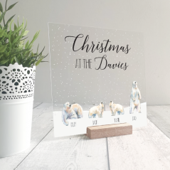 Printed Ribba Replacement Front Acrylic Christmas Scene - Polar Bears Personalised and Bespoke