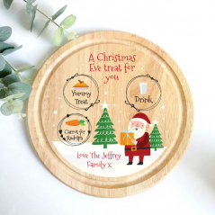 Printed Round Treat Board - Santa & Trees Printed Christmas Eve Treat Boards
