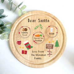 Printed Round Treat Board - Scandi Design Printed Christmas Eve Treat Boards