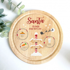 Printed Round Treat Board - Please Stop Here For Printed Christmas Eve Treat Boards
