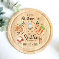 Printed Round Treat Board - Santa & Rudolph
