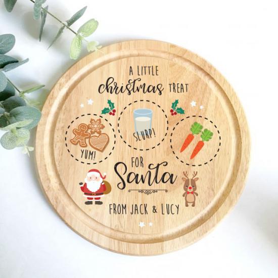 Printed Round Treat Board - Santa & Rudolph Printed Christmas Eve Treat Boards