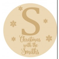 4mm OAK VENEER  Circle with Initial and Snowflakes and Christmas at the