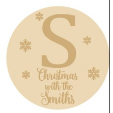 3mm mdf Circle with Initial and Snowflakes and Christmas at the Personalised and Bespoke