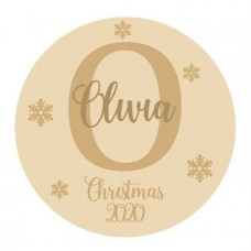 4mm OAK VENEER Circle with Initial and Snowflakes and name with Christmas 2020 IN MDF Personalised and Bespoke