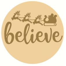 3mm mdf Layered Circle with Believe with Santa and Reindeer Sleigh Christmas Crafting