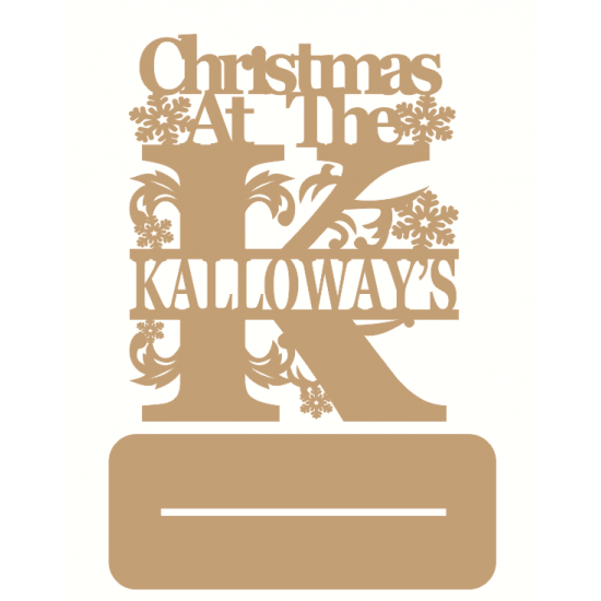 4mm MDF Personalised Christmas Monogram  Sign with Snowflakes
