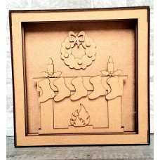 3mm mdf Shadow Box Frame Kit - Fireplace and Stockings Christmas Crafting