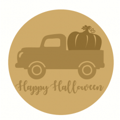 3mm mdf Happy Halloween Layered Circle with Truck and Pumpkin Halloween