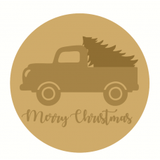 3mm mdf Merry Christmas Layered Circle with Truck and Tree Halloween