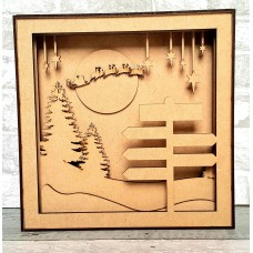3mm mdf Shadow Box Frame Kit - Xmas Trees and Signpost Christmas Crafting