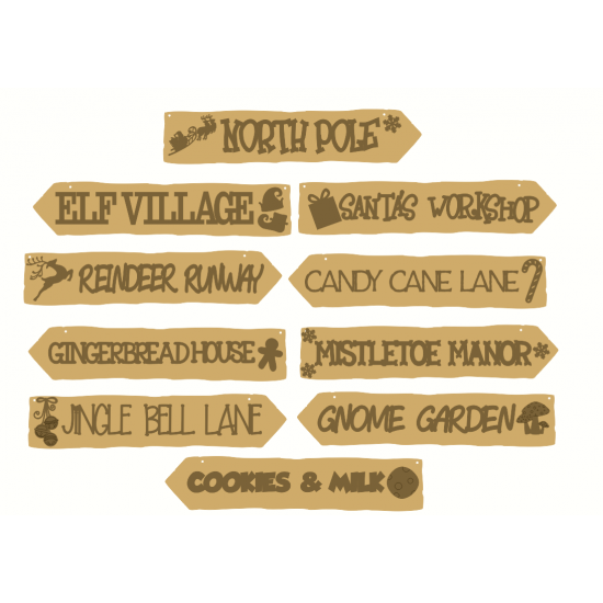 4mm mdf Christmas Signposts (choose from options) Christmas Craft Shapes