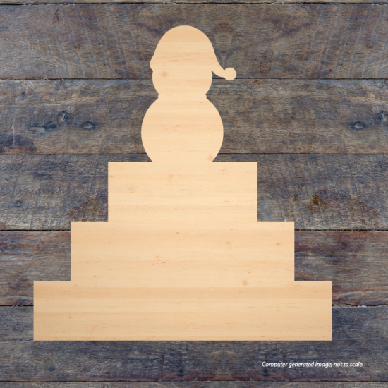 3 Tier MDF Joined 1 Piece Set with Snowman (40mm high steps 100mm, 150mm, 200mm) Wooden Blocks, Tea Lights and Stacking Block Sets