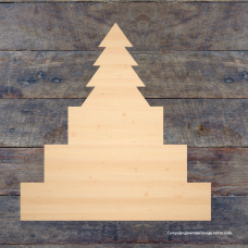 3 Tier MDF Joined 1 Piece Set with Christmas Tree (40mm high steps 100mm, 150mm, 200mm) Wooden Blocks, Tea Lights and Stacking Block Sets