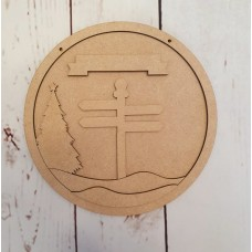 3mm mdf Signpost Layered Circle With Tree Christmas Baubles