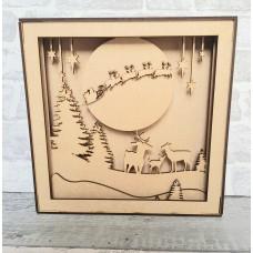 3mm mdf Shadow Box Frame Kit - Xmas Scene Christmas Crafting