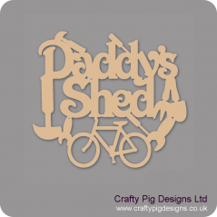 3mm MDF Daddy's Shed With Bicycle And Tools