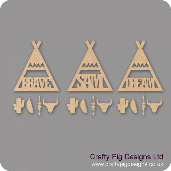 3mm mdf Wigwam - Teepee Dream Catcher with Shapes Personalised and Bespoke