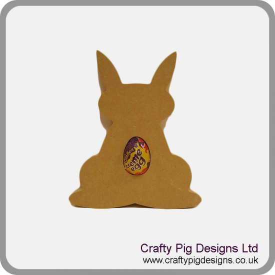 18mm Freestanding Bunny Rabbit With Ears Up And Egg Shape Cut Out