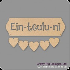 3mm MDF Ein-Teulu-ni - Cut Out Letters And 5 Hearts Quotes & Phrases
